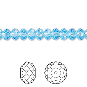 bead, swarovski crystals, crystal passions, aquamarine, 6x4mm faceted rondelle (5040). sold per pkg of 12.