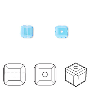 bead, swarovski crystals, crystal passions, aquamarine, 6x6mm faceted cube (5601). sold per pkg of 48.