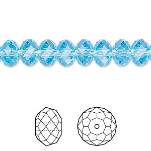 bead, swarovski crystals, crystal passions, aquamarine, 8x6mm faceted rondelle (5040). sold per pkg of 144 (1 gross).