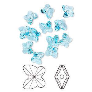 bead, swarovski crystals, crystal passions, aquamarine, 8x7mm faceted butterfly (5754). sold per pkg of 12.