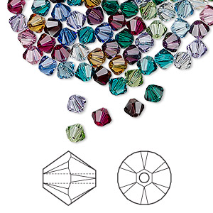 bead, swarovski crystals, crystal passions, birthstone, 4mm xilion bicone (5328). sold per pkg of 48.