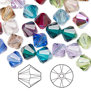 bead, swarovski crystals, crystal passions, birthstone, 8mm xilion bicone (5328). sold per pkg of 12.