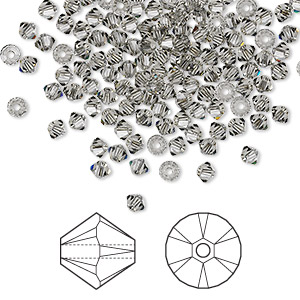 bead, swarovski crystals, crystal passions, black diamond, 3mm xilion bicone (5328). sold per pkg of 48.