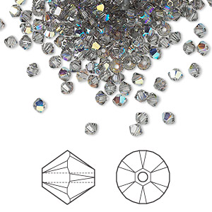 bead, swarovski crystals, crystal passions, black diamond ab, 3mm xilion bicone (5328). sold per pkg of 144 (1 gross).