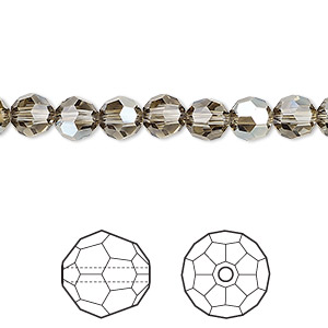 bead, swarovski crystals, crystal passions, black diamond golden shadow, 6mm faceted round (5000). sold per pkg of 12.