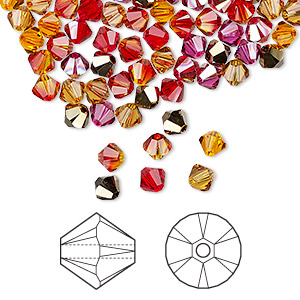 bead, swarovski crystals, crystal passions, blaze, 4mm xilion bicone (5328). sold per pkg of 144 (1 gross).