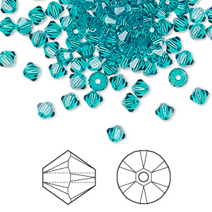 bead, swarovski crystals, crystal passions, blue zircon, 4mm xilion bicone (5328). sold per pkg of 144 (1 gross).