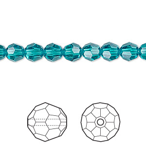 bead, swarovski crystals, crystal passions, blue zircon, 6mm faceted round (5000). sold per pkg of 12.