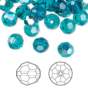 bead, swarovski crystals, crystal passions, blue zircon ab, 8mm faceted round (5000). sold per pkg of 144 (1 gross).