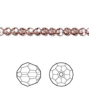 bead, swarovski crystals, crystal passions, blush rose, 4mm faceted round (5000). sold per pkg of 144 (1 gross).