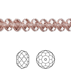 bead, swarovski crystals, crystal passions, blush rose, 8x6mm faceted rondelle (5040). sold per pkg of 12.