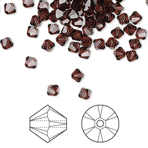 bead, swarovski crystals, crystal passions, burgundy, 4mm xilion bicone (5328). sold per pkg of 48.