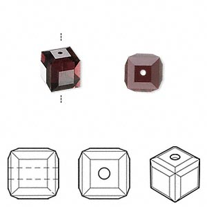 bead, swarovski crystals, crystal passions, burgundy, 8x8mm faceted cube (5601). sold per pkg of 6.