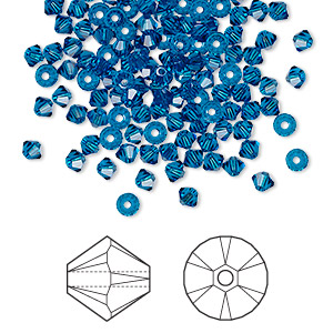 bead, swarovski crystals, crystal passions, capri blue, 3mm xilion bicone (5328). sold per pkg of 48.