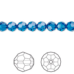 bead, swarovski crystals, crystal passions, capri blue, 6mm faceted round (5000). sold per pkg of 12.
