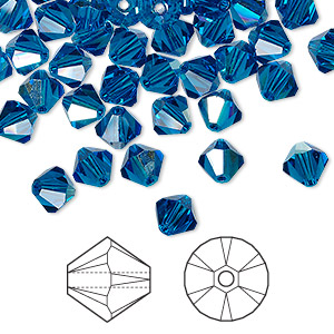 bead, swarovski crystals, crystal passions, capri blue ab, 6mm xilion bicone (5328). sold per pkg of 144 (1 gross).