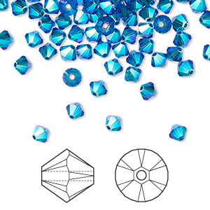bead, swarovski crystals, crystal passions, capri blue ab2x, 4mm xilion bicone (5328). sold per pkg of 144 (1 gross).