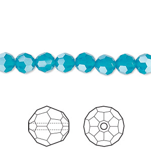 bead, swarovski crystals, crystal passions, caribbean blue opal, 6mm faceted round (5000). sold per pkg of 12.
