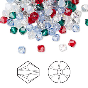bead, swarovski crystals, crystal passions, christmas, 4mm xilion bicone (5328). sold per pkg of 48.