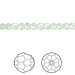 bead, swarovski crystals, crystal passions, chrysolite, 4mm faceted round (5000). sold per pkg of 12.