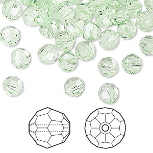 bead, swarovski crystals, crystal passions, chrysolite, 6mm faceted round (5000). sold per pkg of 144 (1 gross).