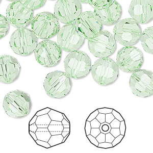 bead, swarovski crystals, crystal passions, chrysolite, 8mm faceted round (5000). sold per pkg of 144 (1 gross).
