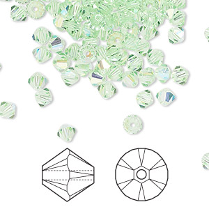bead, swarovski crystals, crystal passions, chrysolite ab, 4mm xilion bicone (5328). sold per pkg of 144 (1 gross).