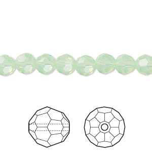 bead, swarovski crystals, crystal passions, chrysolite opal, 6mm faceted round (5000). sold per pkg of 12.