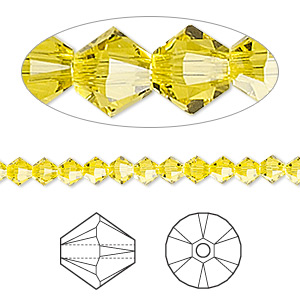 bead, swarovski crystals, crystal passions, citrine, 4mm xilion bicone (5328). sold per pkg of 48.