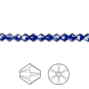 bead, swarovski crystals, crystal passions, cobalt, 4mm xilion bicone (5328). sold per pkg of 48.