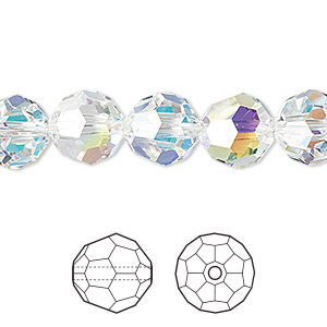 bead, swarovski crystals, crystal passions, crystal ab, 10mm faceted round (5000). sold per pkg of 24.
