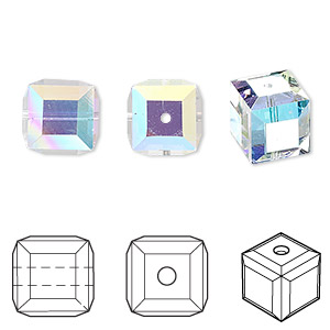bead, swarovski crystals, crystal passions, crystal ab, 10x10mm faceted cube (5601). sold per pkg of 72.