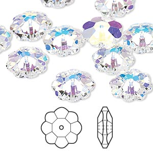 bead, swarovski crystals, crystal passions, crystal ab, 12x4mm faceted marguerite lochrose flower (3700). sold per pkg of 12.
