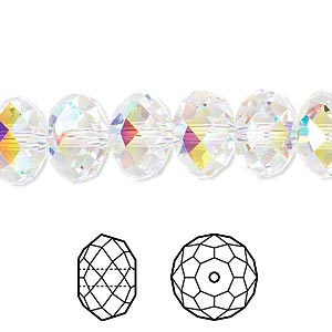 bead, swarovski crystals, crystal passions, crystal ab, 12x8mm faceted rondelle (5040). sold per pkg of 2.