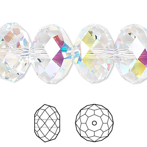 bead, swarovski crystals, crystal passions, crystal ab, 18x12mm faceted rondelle with 2mm hole (5040). sold per pkg of 6.