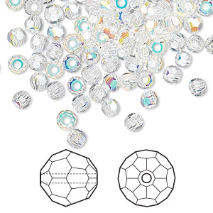 bead, swarovski crystals, crystal passions, crystal ab, 2mm faceted round (5000). sold per pkg of 12.