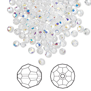 bead, swarovski crystals, crystal passions, crystal ab, 3mm faceted round (5000). sold per pkg of 720 (5 gross).