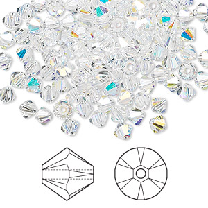 bead, swarovski crystals, crystal passions, crystal ab, 4mm xilion bicone (5328). sold per pkg of 144 (1 gross).