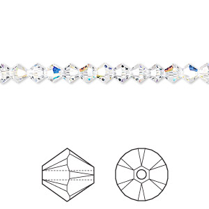 bead, swarovski crystals, crystal passions, crystal ab, 4mm xilion bicone (5328). sold per pkg of 48.