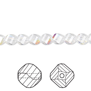 bead, swarovski crystals, crystal passions, crystal ab, 6mm faceted helix (5020). sold per pkg of 144 (1 gross).