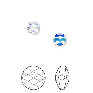 bead, swarovski crystals, crystal passions, crystal ab, 6mm faceted mini round (5052). sold per pkg of 2.