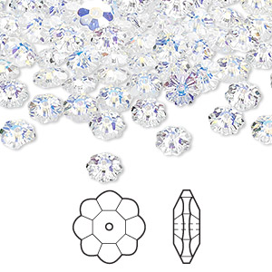 bead, swarovski crystals, crystal passions, crystal ab, 6x2mm faceted marguerite lochrose flower (3700). sold per pkg of 144 (1 gross).