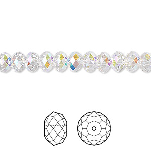 bead, swarovski crystals, crystal passions, crystal ab, 6x4mm faceted rondelle (5040). sold per pkg of 12.