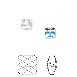 bead, swarovski crystals, crystal passions, crystal ab, 6x6mm faceted mini square (5053). sold per pkg of 2.