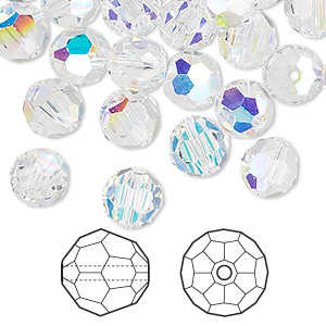 bead, swarovski crystals, crystal passions, crystal ab, 8mm faceted round (5000). sold per pkg of 144 (1 gross).