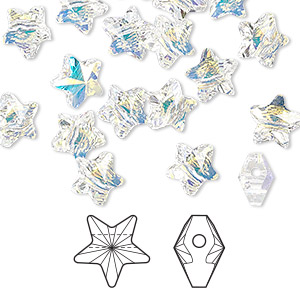 bead, swarovski crystals, crystal passions, crystal ab, 8x8mm faceted star (5714). sold per pkg of 8.