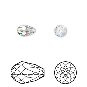 bead, swarovski crystals, crystal passions, crystal ab, 9x6mm faceted teardrop (5500). sold per pkg of 24.