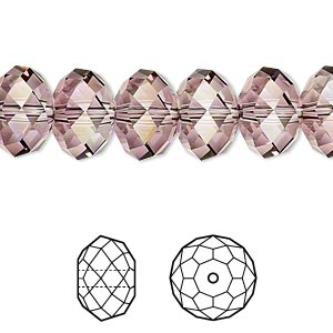 bead, swarovski crystals, crystal passions, crystal antique pink, 12x8mm faceted rondelle (5040). sold per pkg of 2.