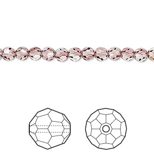 bead, swarovski crystals, crystal passions, crystal antique pink, 4mm faceted round (5000). sold per pkg of 144 (1 gross).