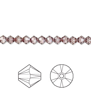 bead, swarovski crystals, crystal passions, crystal antique pink, 4mm xilion bicone (5328). sold per pkg of 144 (1 gross).